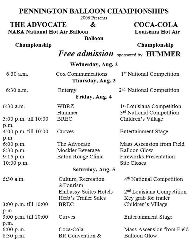 2006 Balloon Festival Schedule of Events